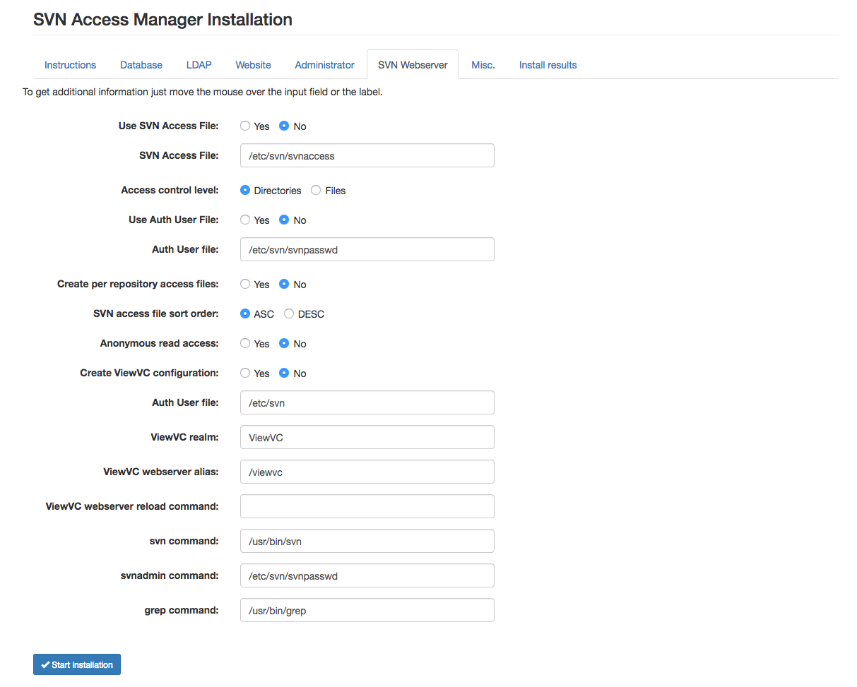 Using the installer • SVN Access Manager